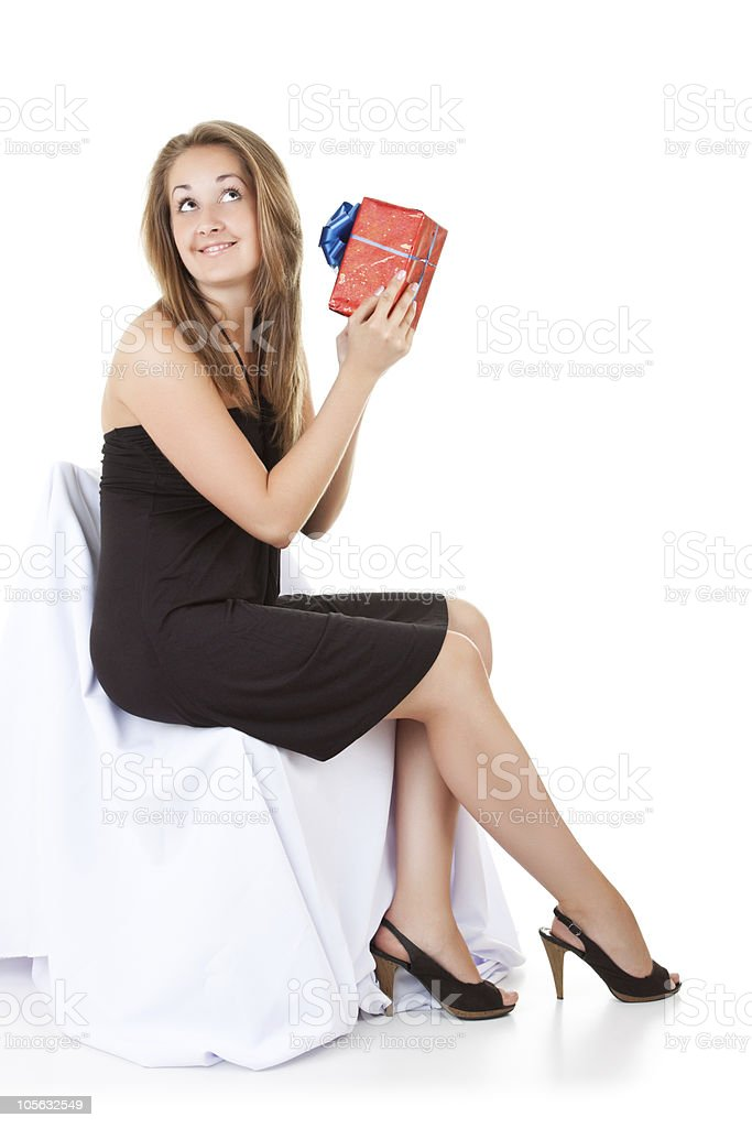pretty girl shake her gift royalty-free stock photo