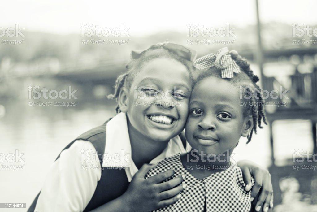 pretty girl; sisters portrait in monochrome stock photo
