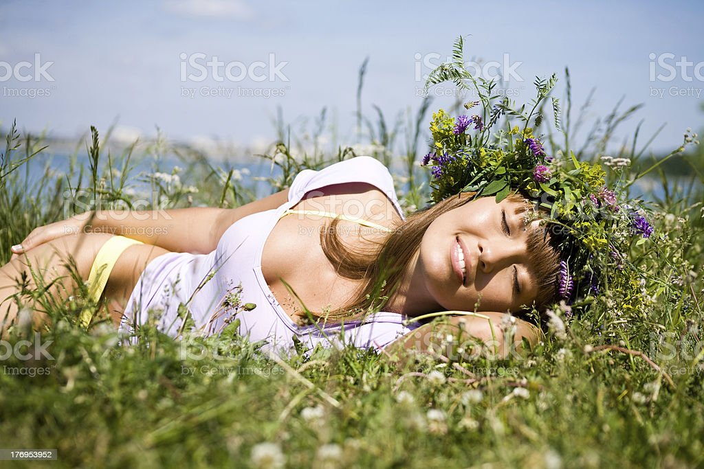 Pretty girl  sleep on field royalty-free stock photo