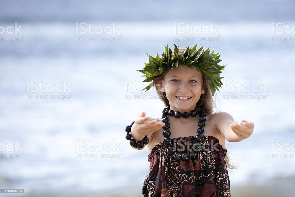 Pretty Girl smiling and dancing the Hula stock photo