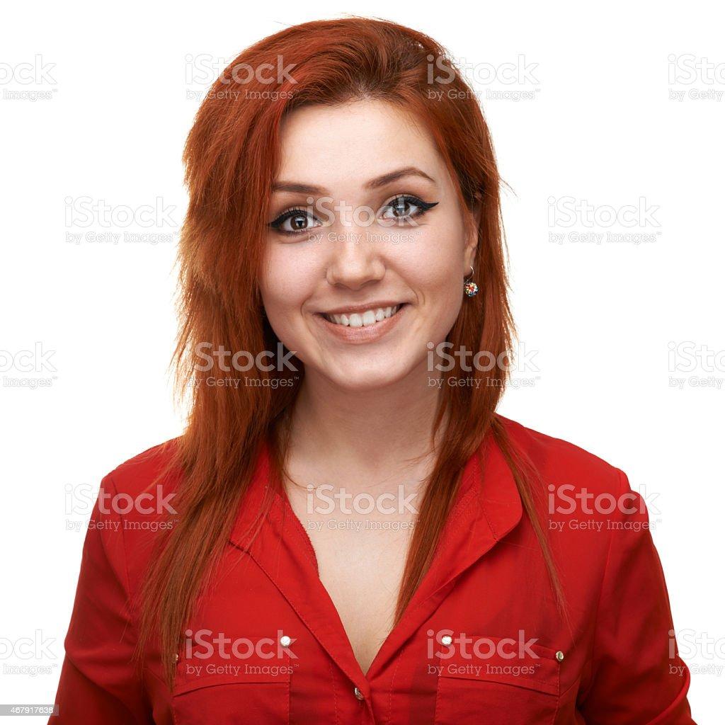 pretty girl smiling artificially stock photo