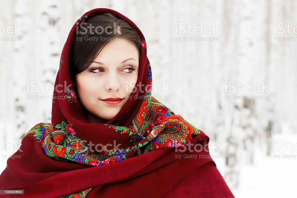 Pretty girl wearing shawl royalty-free stock photo