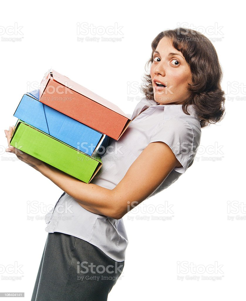 Pretty girl with a lot of paper folders stock photo