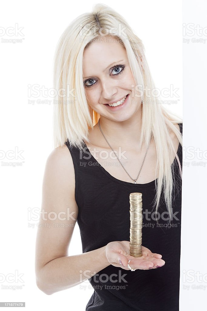 Pretty Girl With A Pile Of Coins royalty-free stock photo