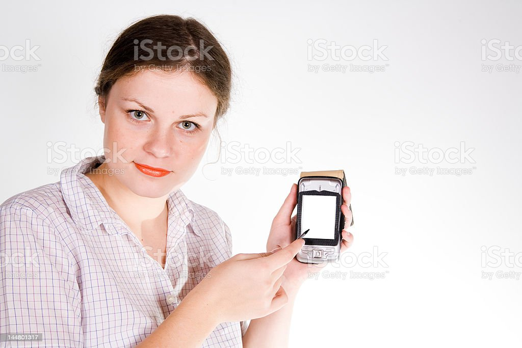 pretty girl with a smartphone royalty-free stock photo