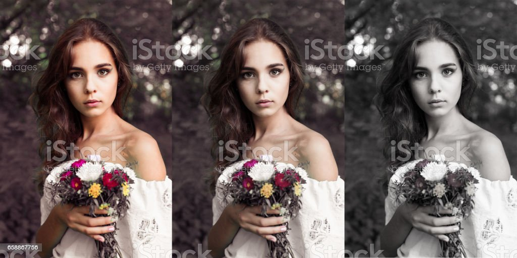 Pretty girl with bouquet of flowers stock photo