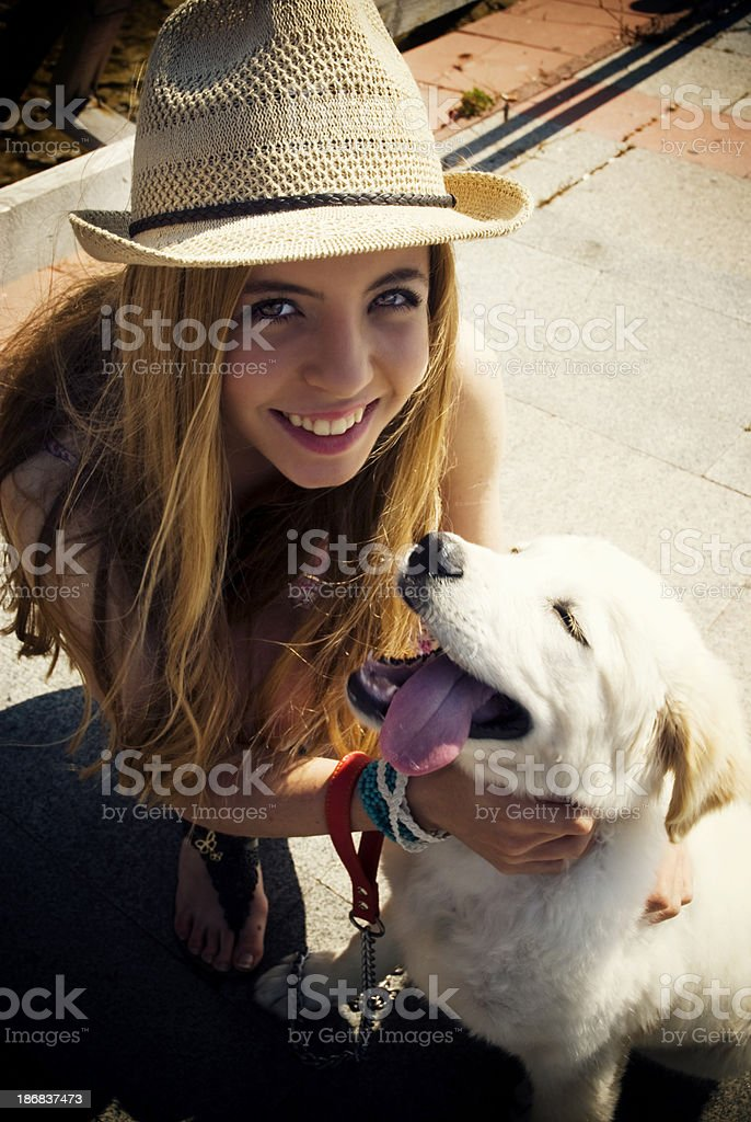 Pretty girl with dog royalty-free stock photo