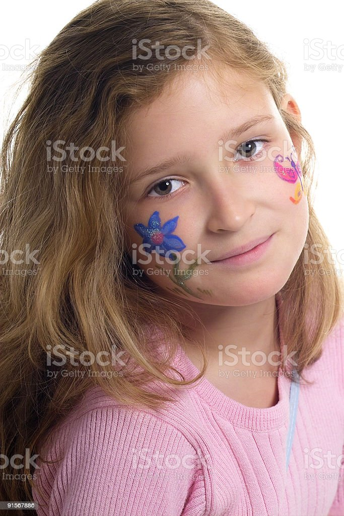 Pretty girl with flower butterfly make-up stock photo
