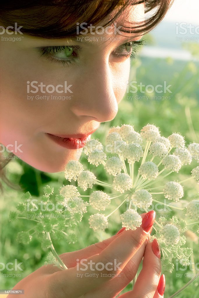 pretty girl with flower royalty-free stock photo