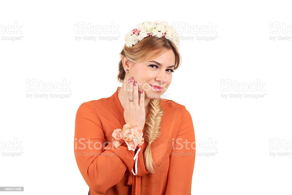 Pretty girl with golden braid. stock photo