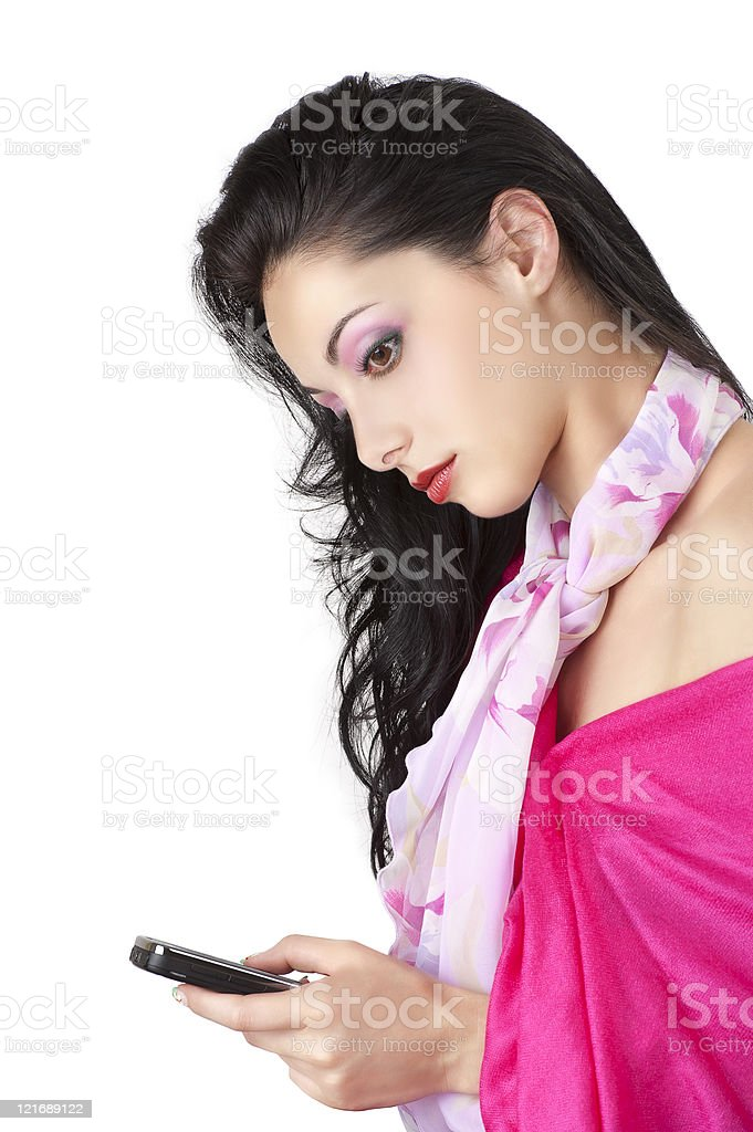 Pretty girl with mobile phone stock photo