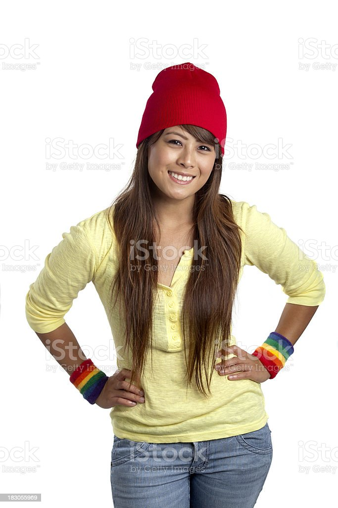 Pretty Girl with Rainbow Wristbands royalty-free stock photo