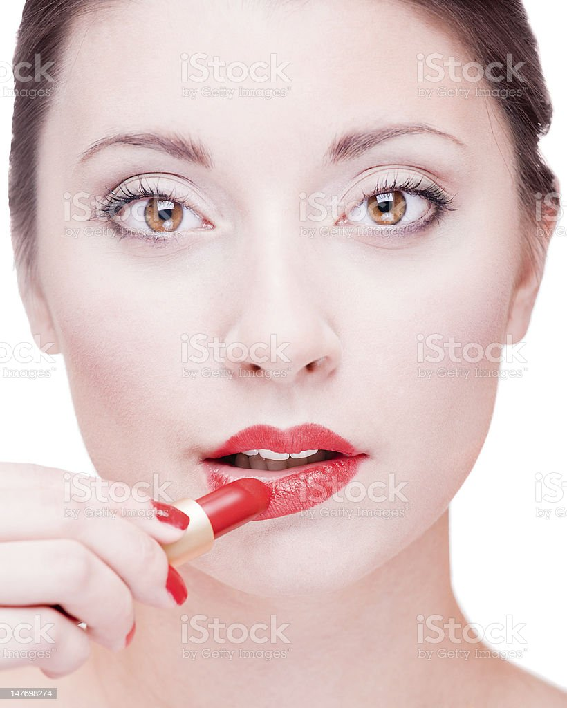 Pretty girl with red lipstick royalty-free stock photo