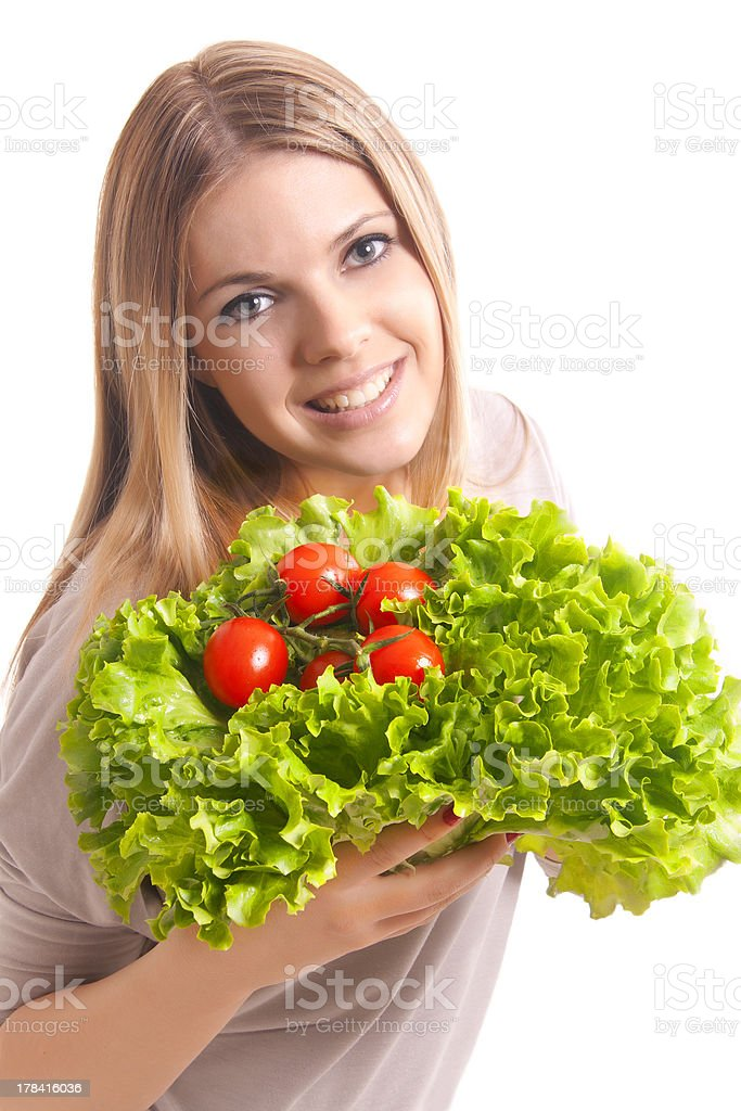 pretty  girl with salad royalty-free stock photo
