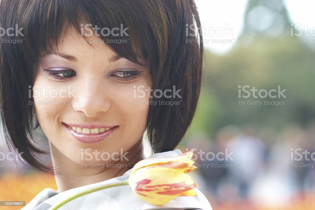 Pretty girl with tulips royalty-free stock photo
