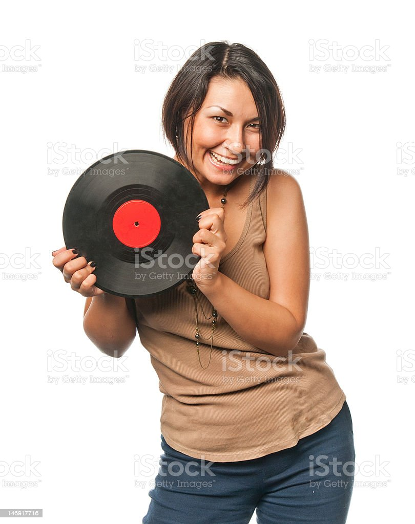 Pretty girl with vinyl disc royalty-free stock photo