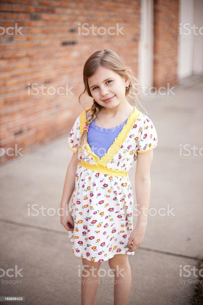 Pretty Girls Standing Downtown stock photo