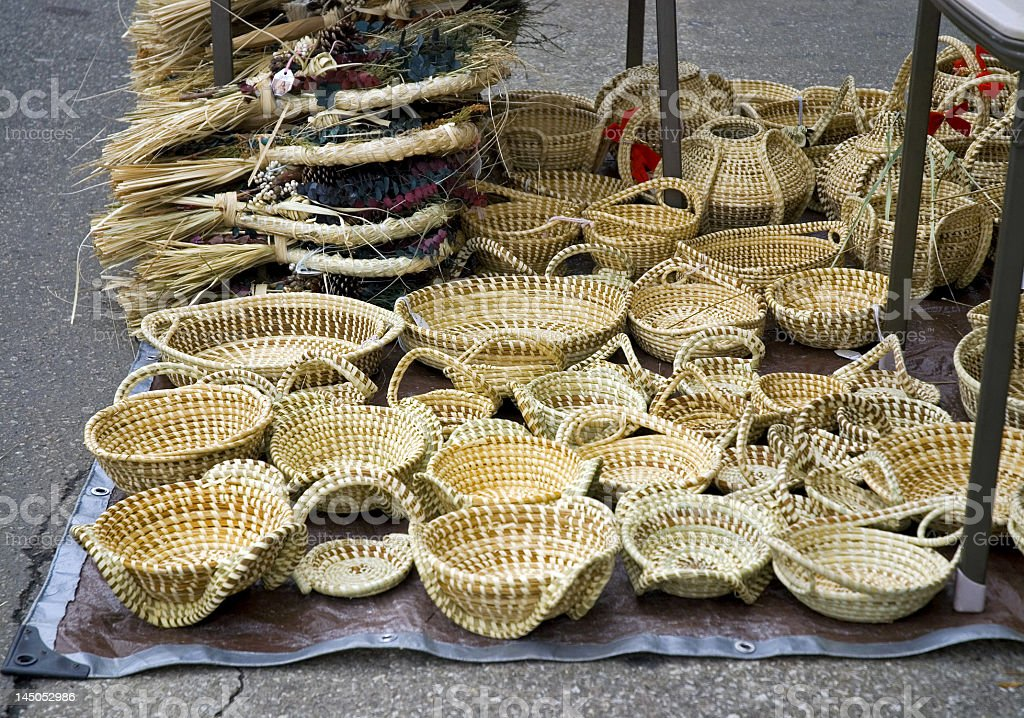 Pretty Handmade Baskets Set up in the Street royalty-free stock photo