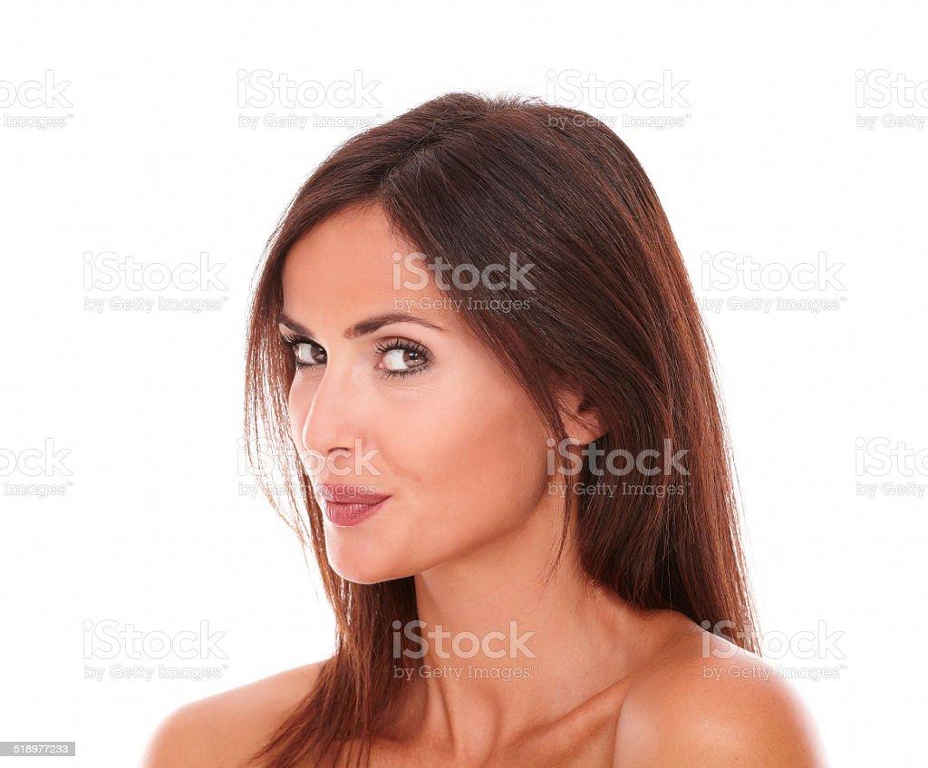 Pretty hispanic female looking at camera stock photo