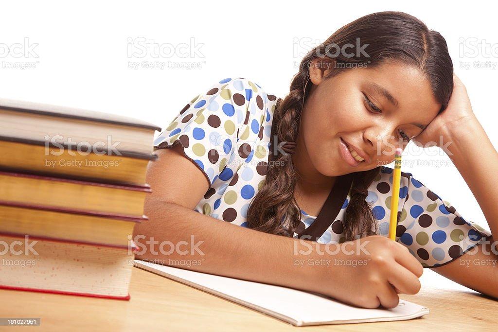 Pretty Hispanic Girl Studying royalty-free stock photo