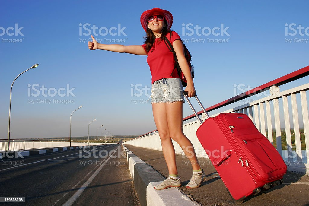 Pretty hitch-hiker royalty-free stock photo