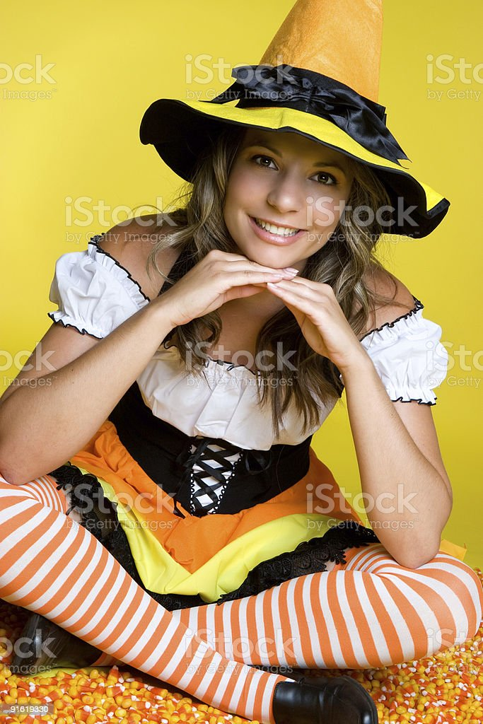 Pretty in halloween costume royalty-free stock photo