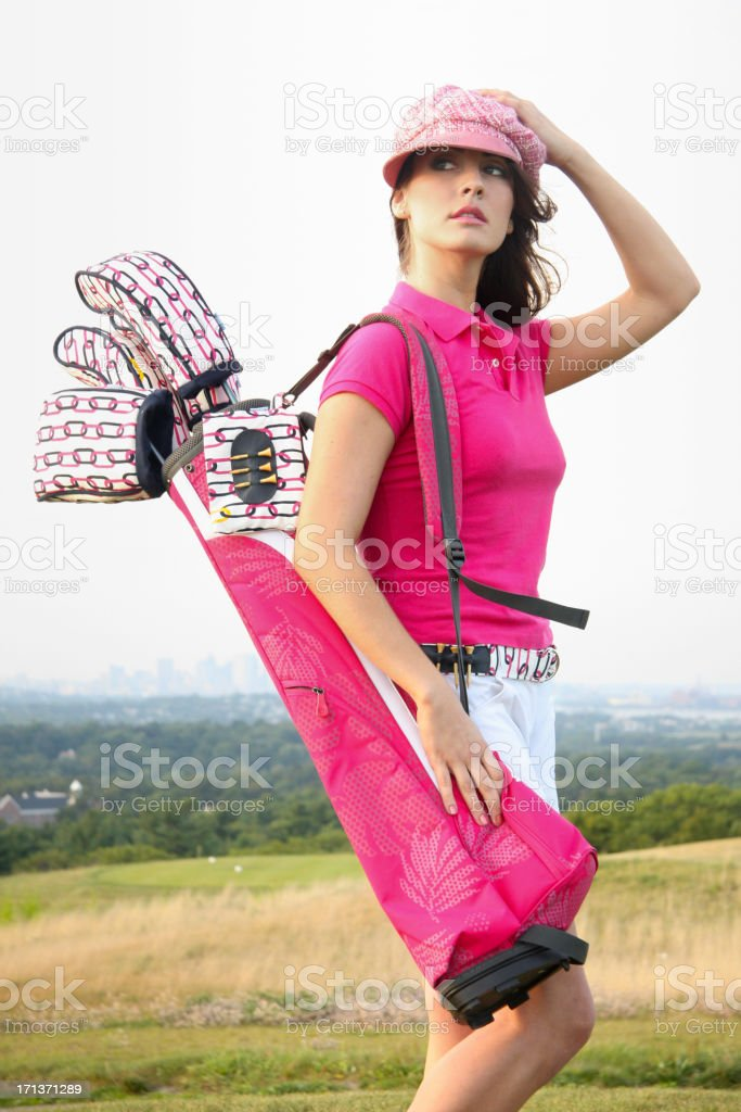 Pretty in pink golfing royalty-free stock photo