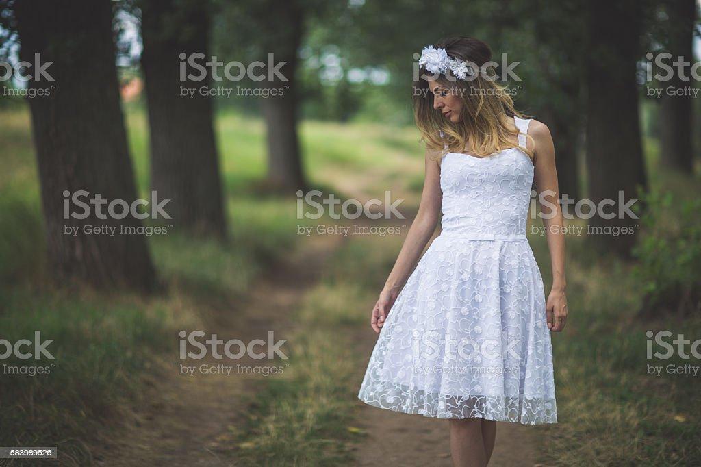 Pretty in white stock photo