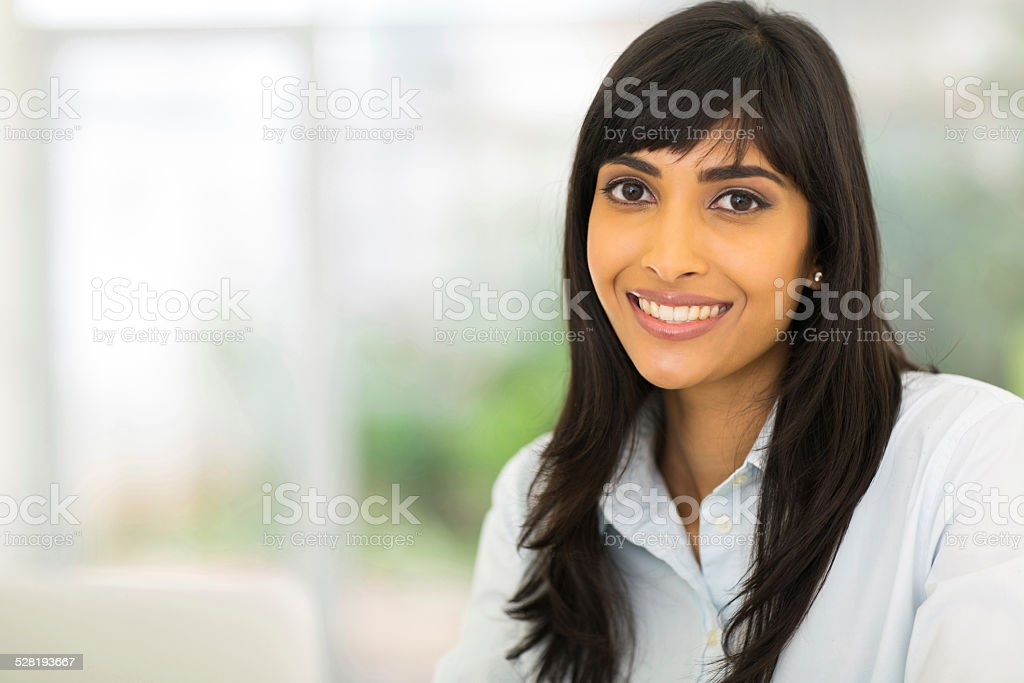 pretty indian businesswoman stock photo