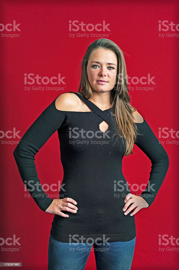 Pretty Lady Hands on Hips stock photo