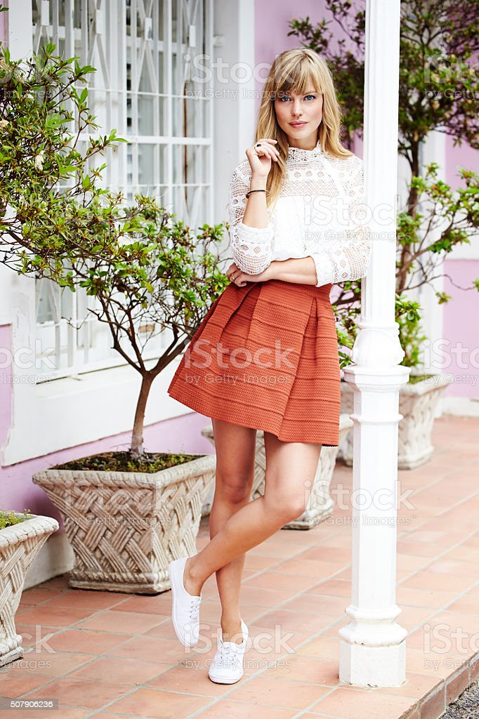 Pretty lady leaning stock photo