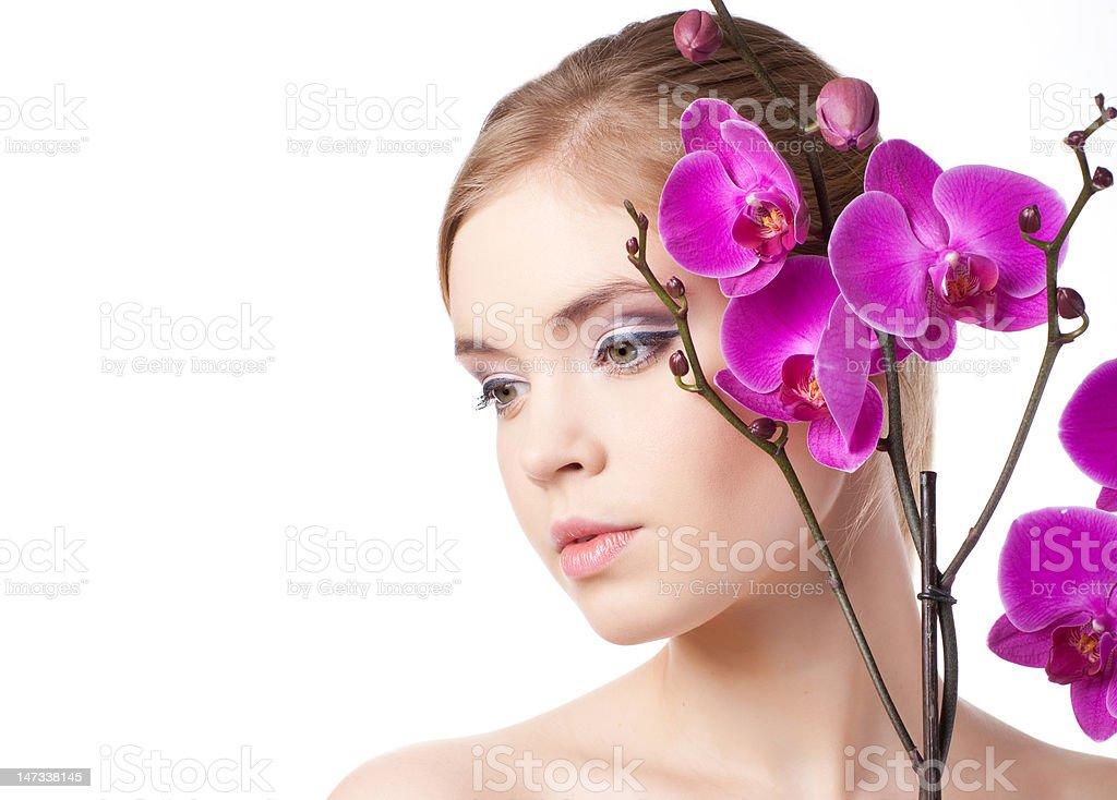 Jolie femme avec fleur photo libre de droits