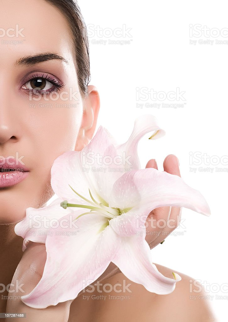 Pretty lady with madonna lily isolated on white royalty-free stock photo
