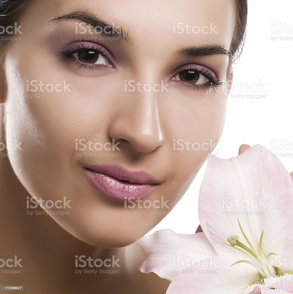 Pretty lady with madonna lily royalty-free stock photo