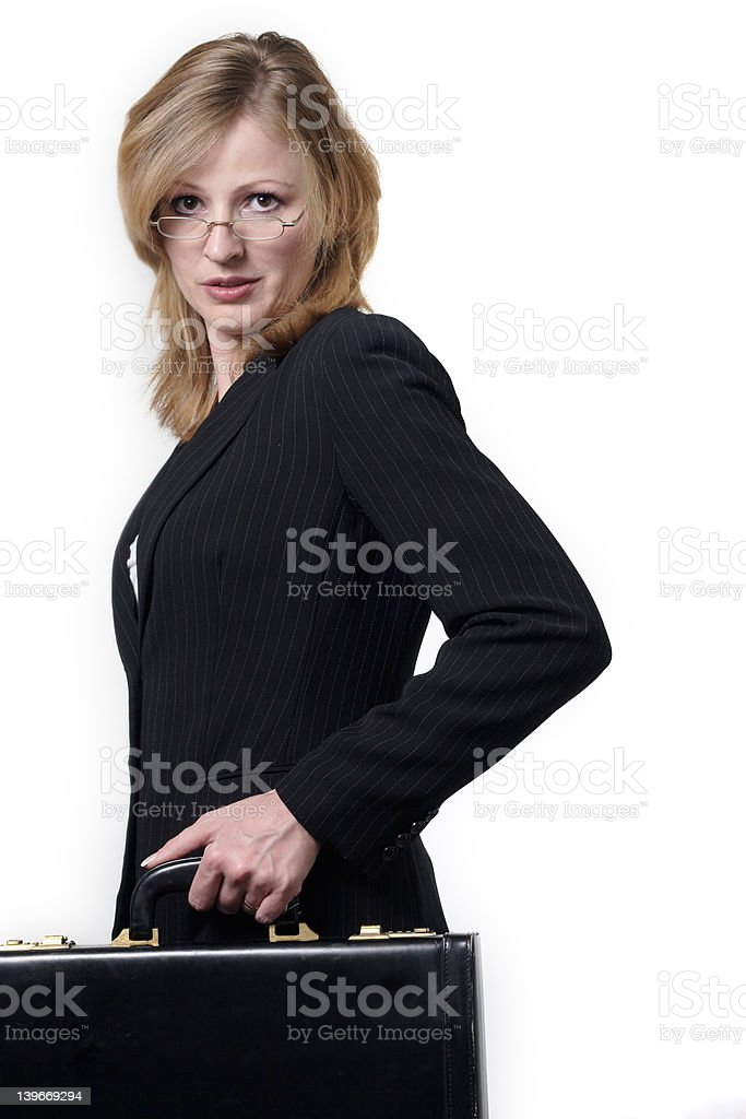 pretty lawyer carrying briefcase stock photo