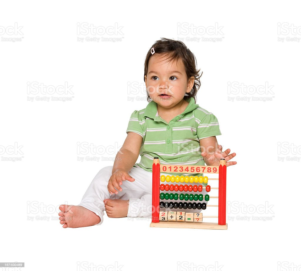 pretty little baby playing with abacus royalty-free stock photo