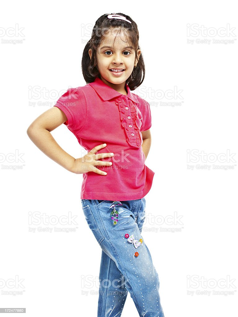 Pretty Little Indian Girl Isolated on White Full Length royalty-free stock photo