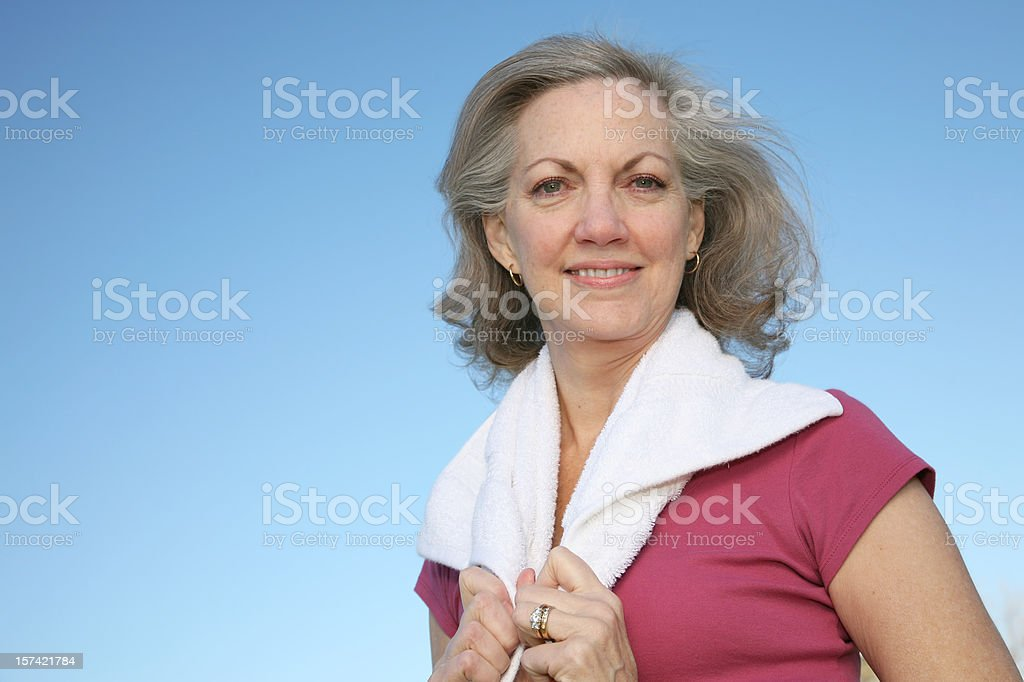 Pretty Mature Adult with towel around neck royalty-free stock photo