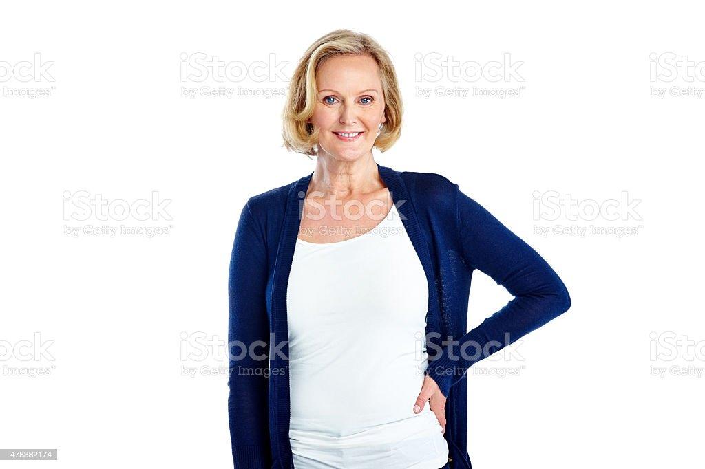 Pretty mature woman posing on white stock photo