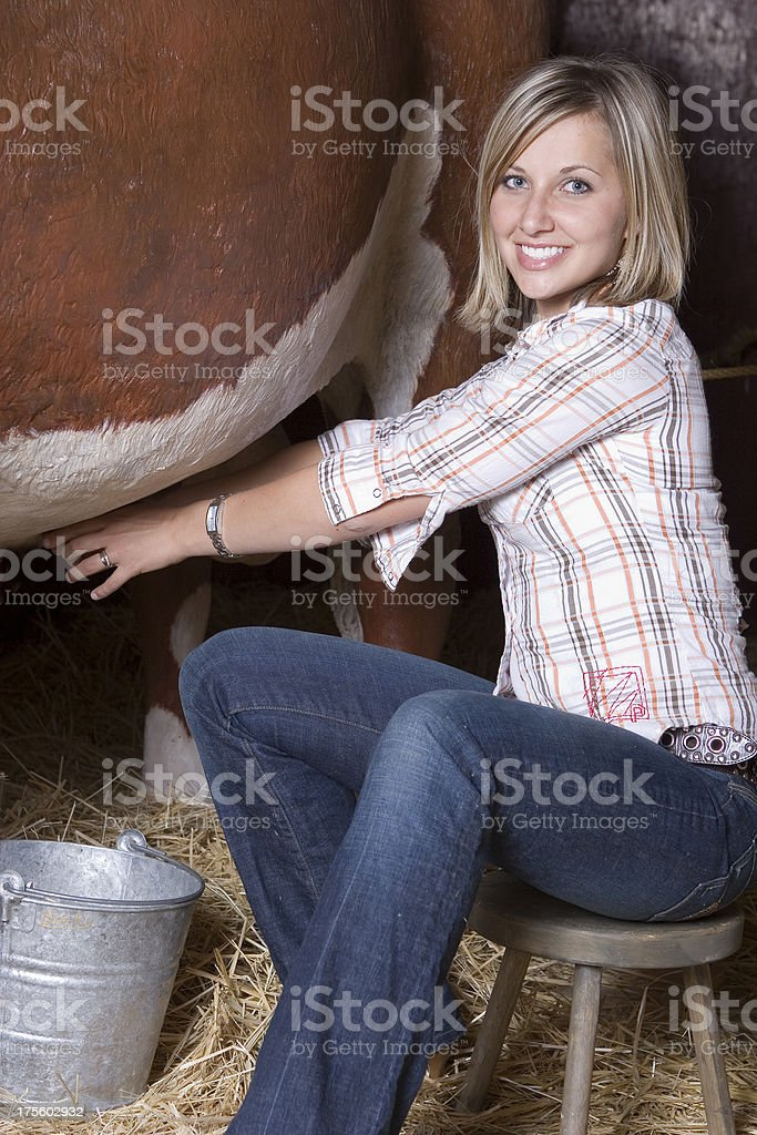 Pretty Milkmaid stock photo