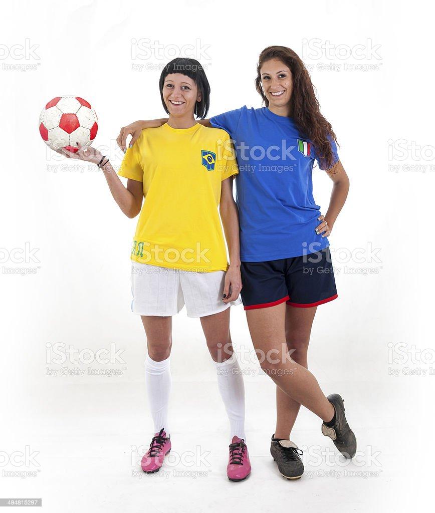 pretty models fans for world football brazil royalty-free stock photo