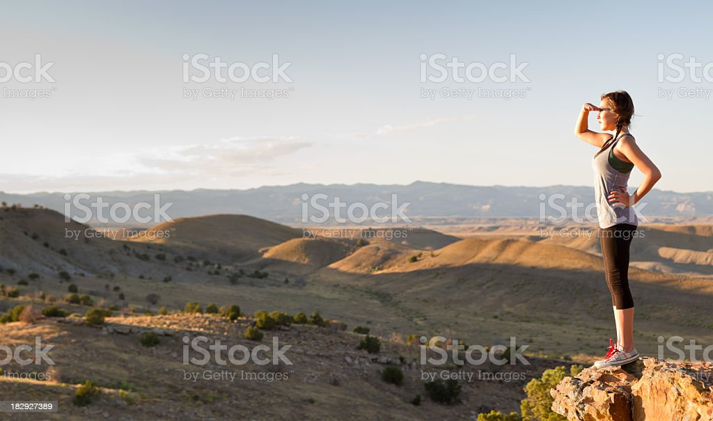 Pretty Native American Girl in Desert Pano stock photo