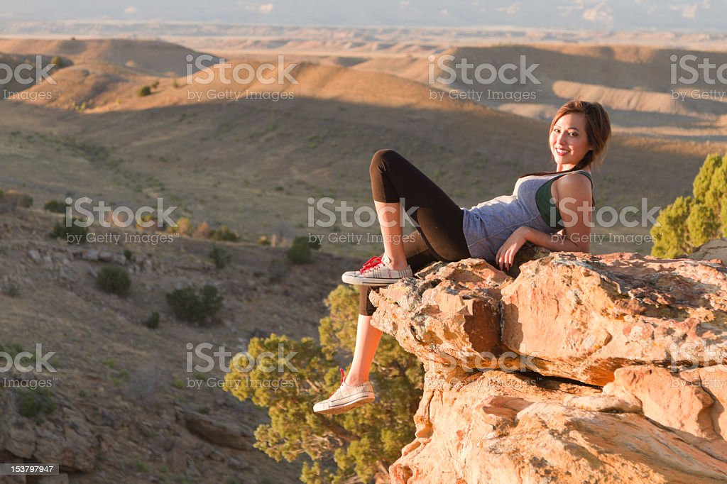 Pretty Native American Girl in Desert royalty-free stock photo