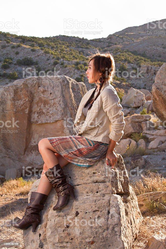 Pretty Native American Girl in Desert royalty-free stock photo