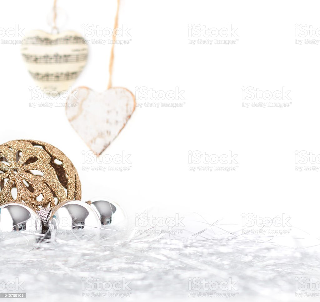 Pretty neutral christmas decorations with space for text stock photo