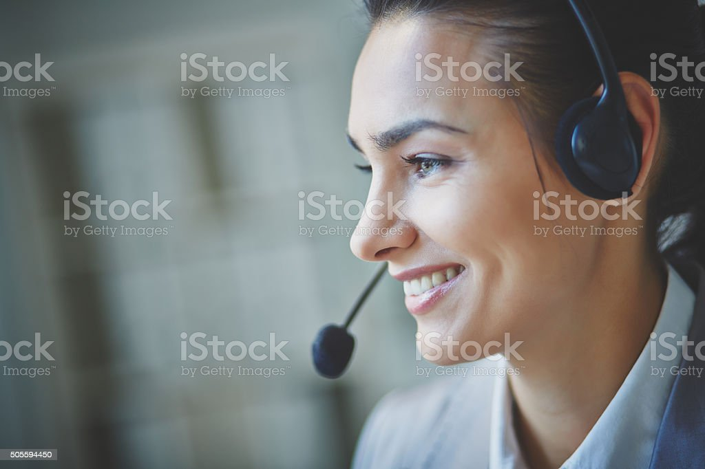 Pretty operator stock photo