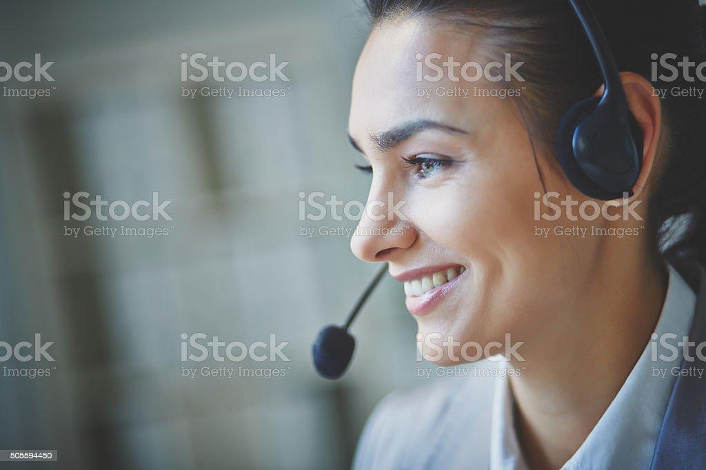 Pretty operator stock photo