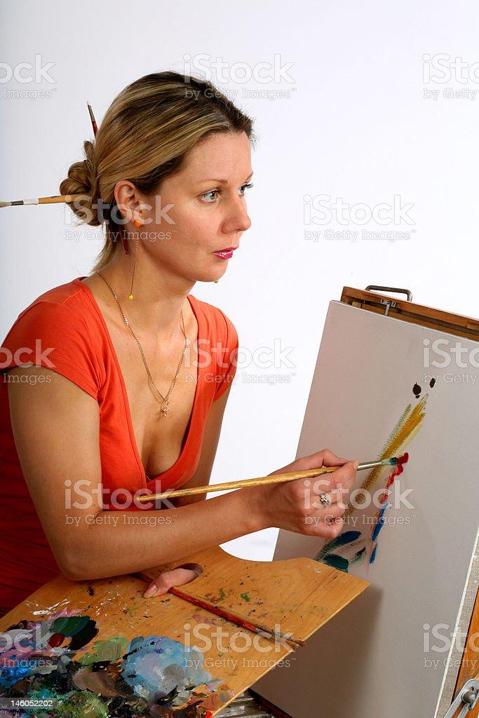Pretty painter royalty-free stock photo