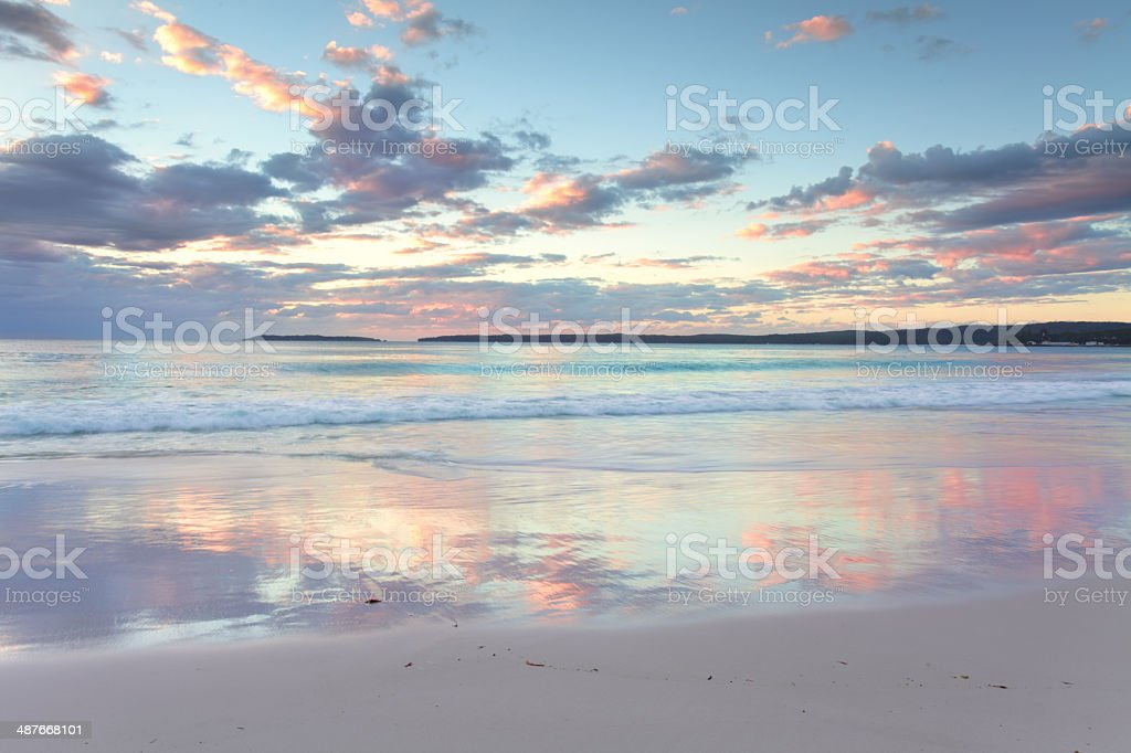 Pretty pastel dawn sunrise at Hyams Beach NSW Australia stock photo