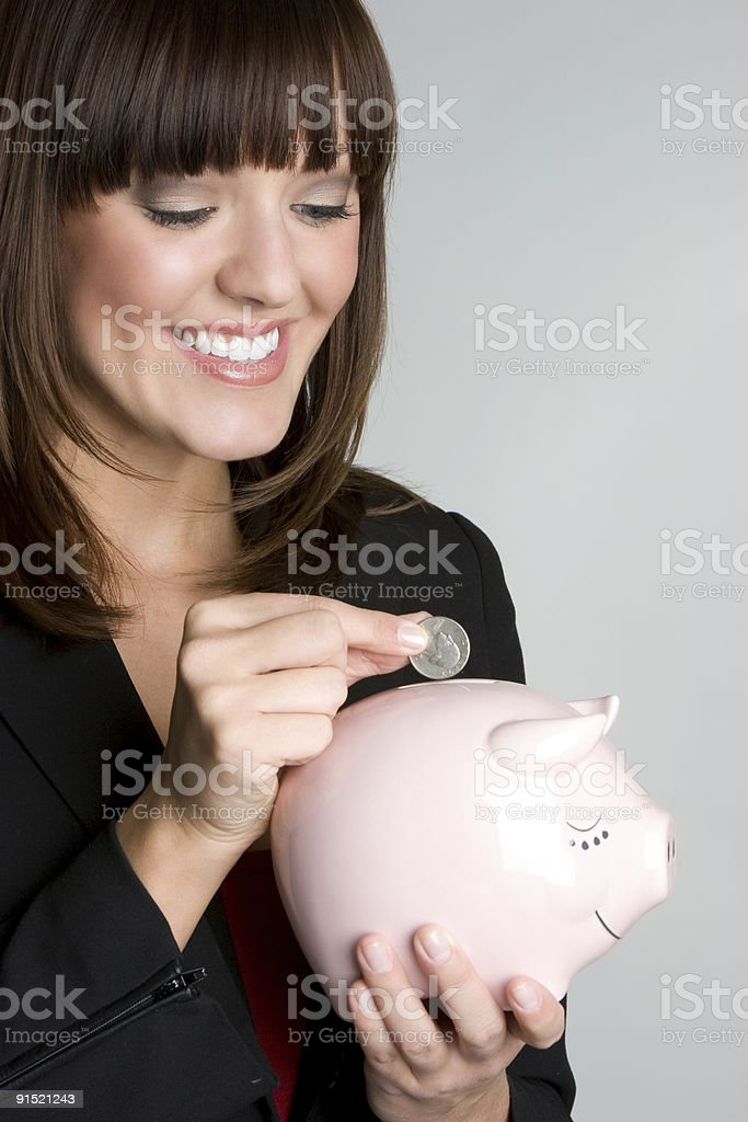 Pretty piggybank lady royalty-free stock photo